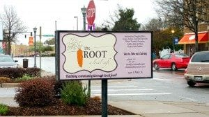 The Root Cafe Sign